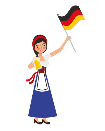 bavarian woman holding beer and germany flag vector illustration
