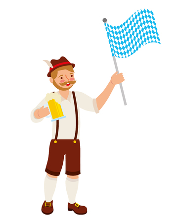 bavarian man with beer and flag vector illustration