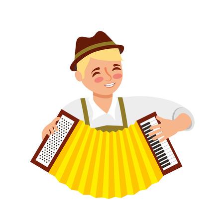 bavarian man with accordion portrait vector illustration