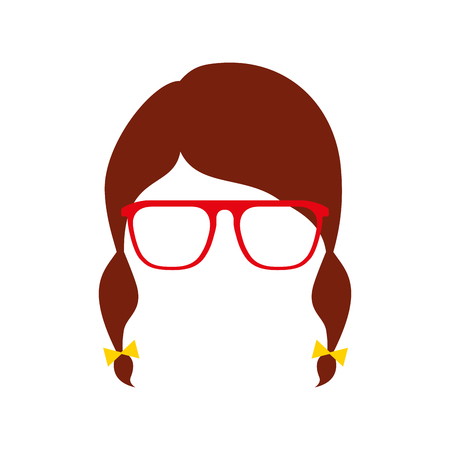 hair braid glasses isolted design vector illustration Illusztráció