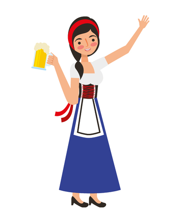 bavarian woman holding beer glass vector illustration