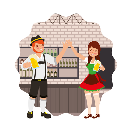 bavarian man and woman drinking in the bar vector illustration Çizim