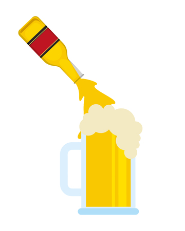 beer bottle pouring in glass cup vector illustration