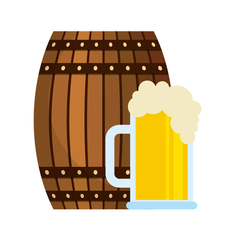 beer wooden barrel and glass cup vector illustration
