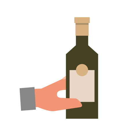 hand holding bottle liquor isolated design vector illustration