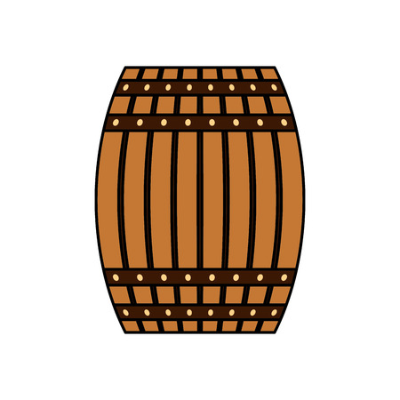 Wooden beer barrel drink beverage vector illustration