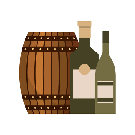 Wooden barrel beer and bottles liquor vector illustration Stock Photo