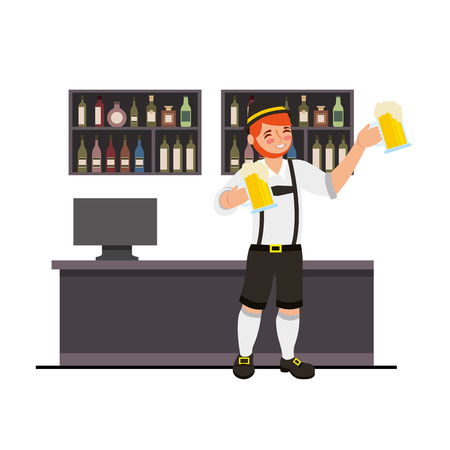 Bavarian man holding two beer in the bar vector illustration Banque d'images - 109066068