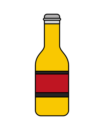 Beer bottle drink celebration isolated vector illustration Фото со стока