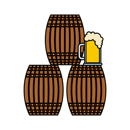 Three beer barrel and glass cup foam vector illustration