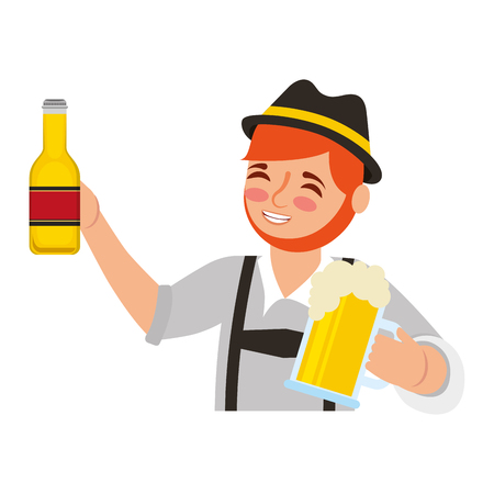 Bavarian man holding bottle beer and glass cup vector illustration Imagens - 109066078