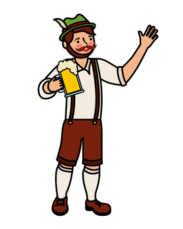 Bavarian man holding beer glass vector illustration Imagens - 109066082