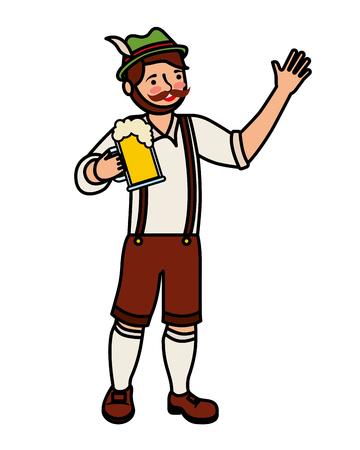 Bavarian man holding beer glass vector illustration