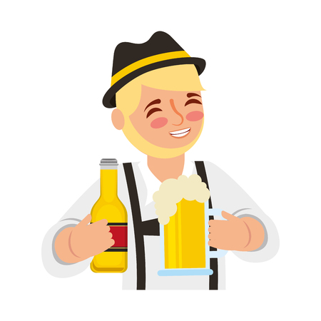 Bavarian man holding bottle beer and glass cup vector illustration Stock Photo