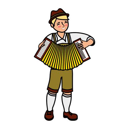 Bavarian man with accordion instrument vector illustration Archivio Fotografico - 109066083