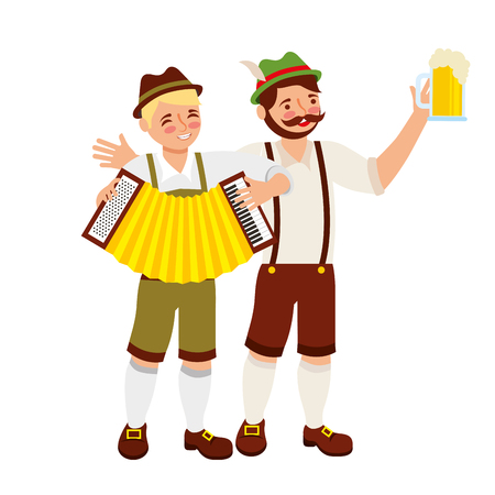 bavarian men with beer glass and accordion vector illustration