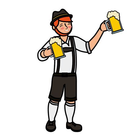 Bavarian man holding two beer glasses vector illustration Stock Photo