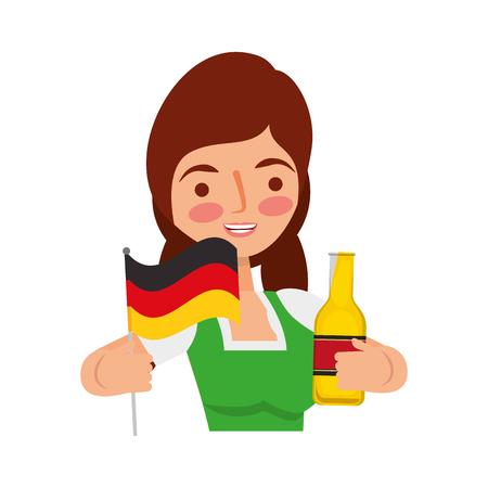 Bavarian woman holding bottle beer and flag vector illustration Standard-Bild - 109066178