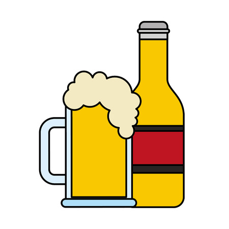 Beer bottle and glass cup alcohol vector illustration