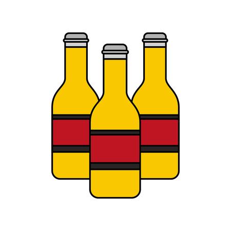 three bottles beer alcohol isolated design vector illustration Illustration