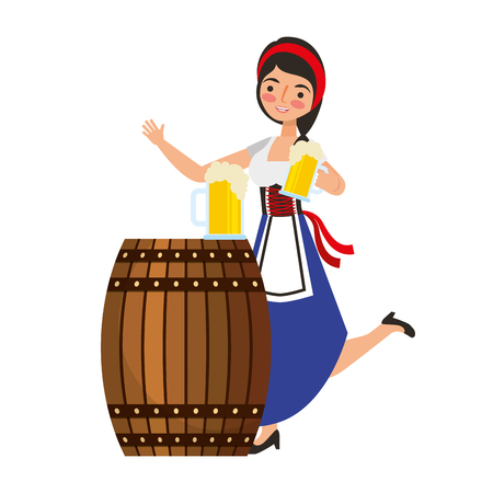 Bavarian woman holding beer with barrel vector illustration Imagens - 109066185