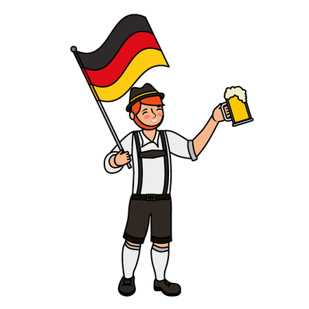 bavarian man holding beer and germany flag vector illustration Çizim