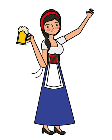 Bavarian woman holding beer glass vector illustration