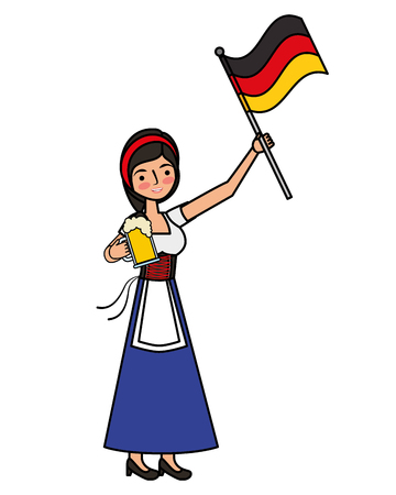 Bavarian woman holding beer and Germany flag vector illustration Imagens
