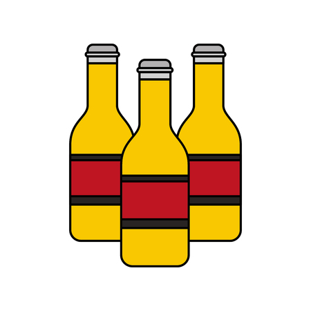 Three bottles beer alcohol isolated design vector illustration