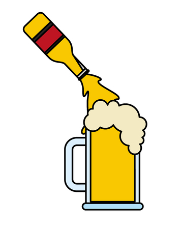 Beer bottle pouring in glass cup vector illustration Reklamní fotografie