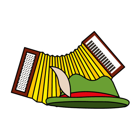 Green hat and accordion musical instrument vector illustration