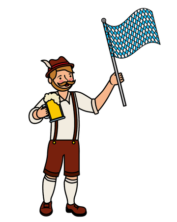 Bavarian man with beer and flag vector illustration Imagens - 109066189