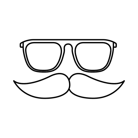 Hipster glasses mustache fashion retro isolated vector illustration outline