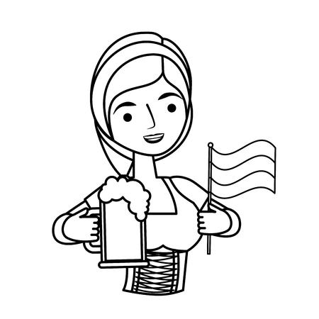 Bavarian woman holding beer and flag vector illustration outline Stock fotó
