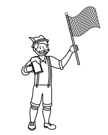 Bavarian man with beer and flag vector illustration outline Standard-Bild - 109066342