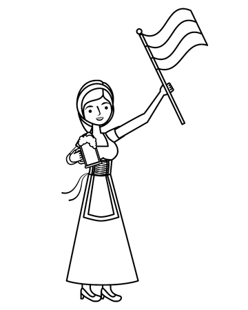 Bavarian woman holding beer and flag vector illustration outline Imagens - 109066341
