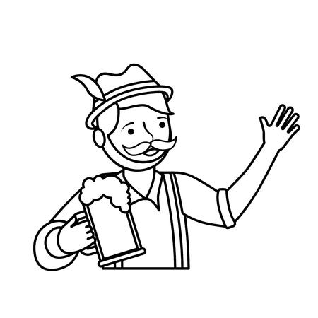 Bavarian man holding beer glass portrait vector illustration outline