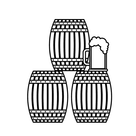 Three beer barrel and glass cup foam vector illustration outline Stockfoto