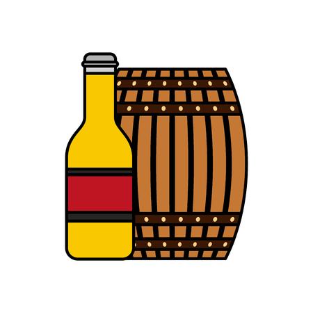 Wooden barrel bottle beer isolated design vector illustration Stock Photo