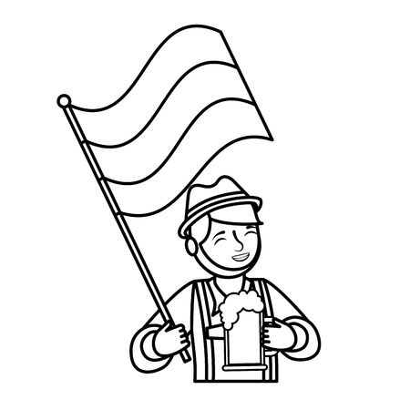 Bavarian man holding beer and flag vector illustration outline