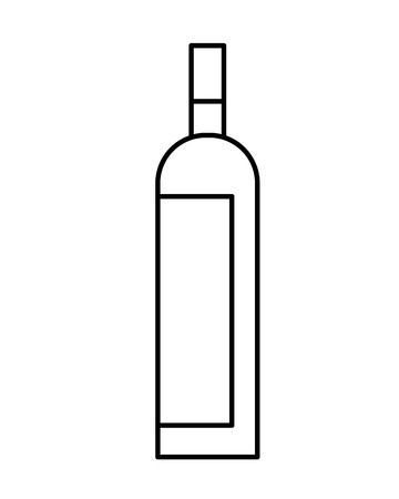 Bottle drink beverage alcohol isolated vector illustration outline Stok Fotoğraf