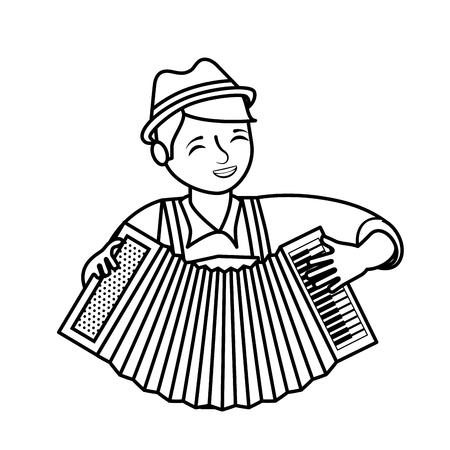 Bavarian man with accordion portrait vector illustration outline Stok Fotoğraf