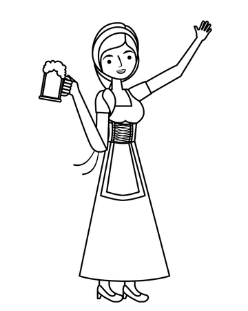Bavarian woman holding beer glass vector illustration outline