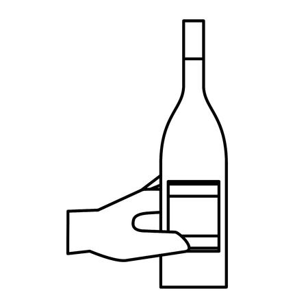 Hand holding bottle liquor isolated design vector illustration outline