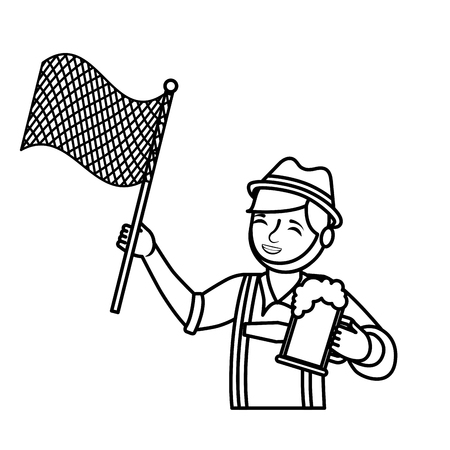 Bavarian man with beer and flag vector illustration outline Stockfoto