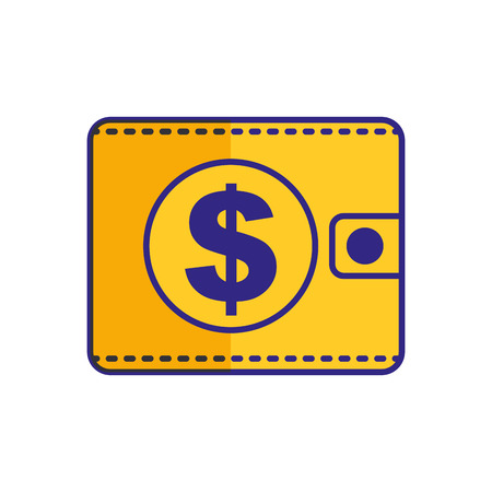 Wallet dollar money isolated image vector illustration