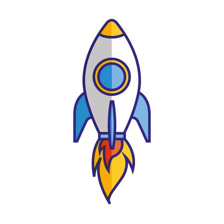 Rocket launching startup isolated image vector illustration 向量圖像