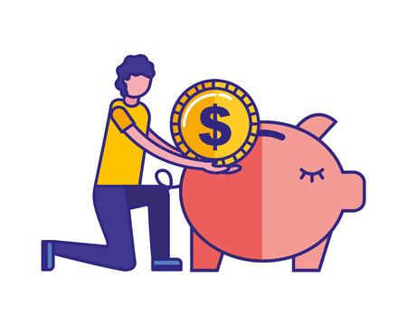 Man pushing coin in piggy bank vector illustration