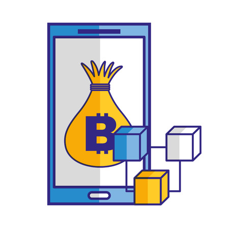 Smartphone money bag bitcoin blockchain vector illustration