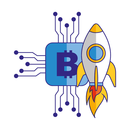 Bitcoin virtual money rocket success vector illustration Stock Photo